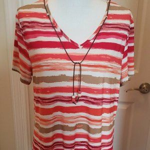 Cato Women's V-Neck Striped Tunic Top Size Large